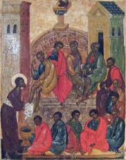 Christ washing the feet of the Apostles. Icon of Pskov school. 16th C. (Wikipedia)